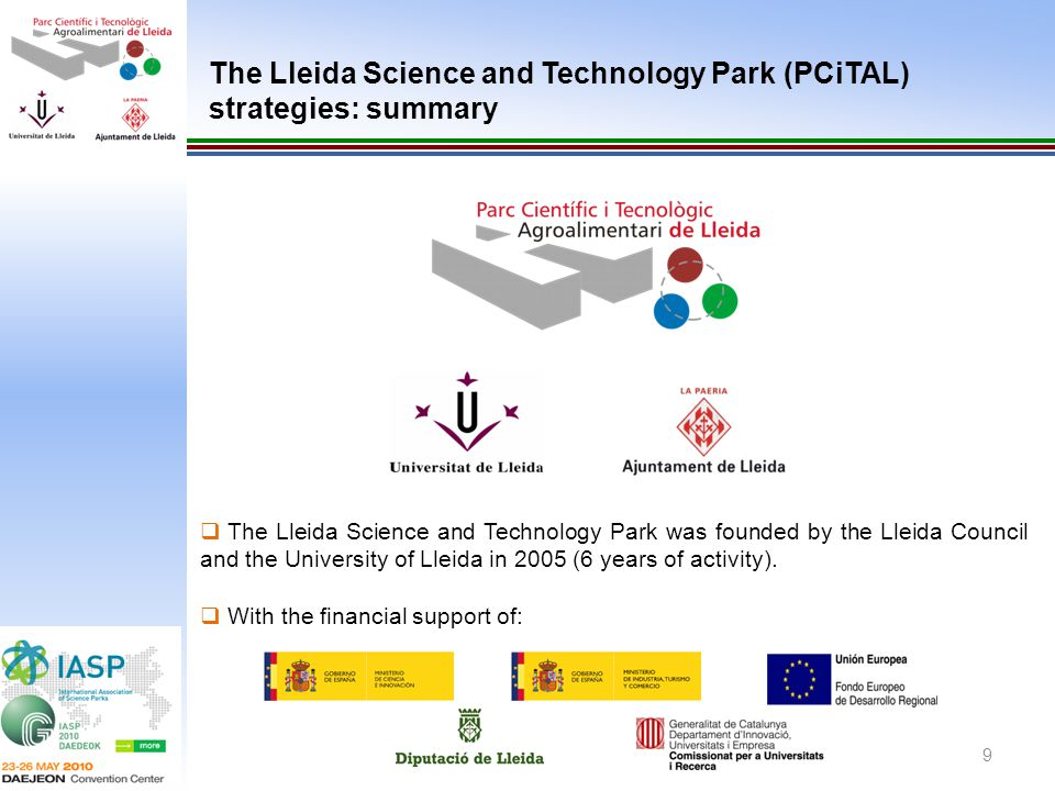 The Lleida Science and Technology Park (PCiTAL) strategies: summary