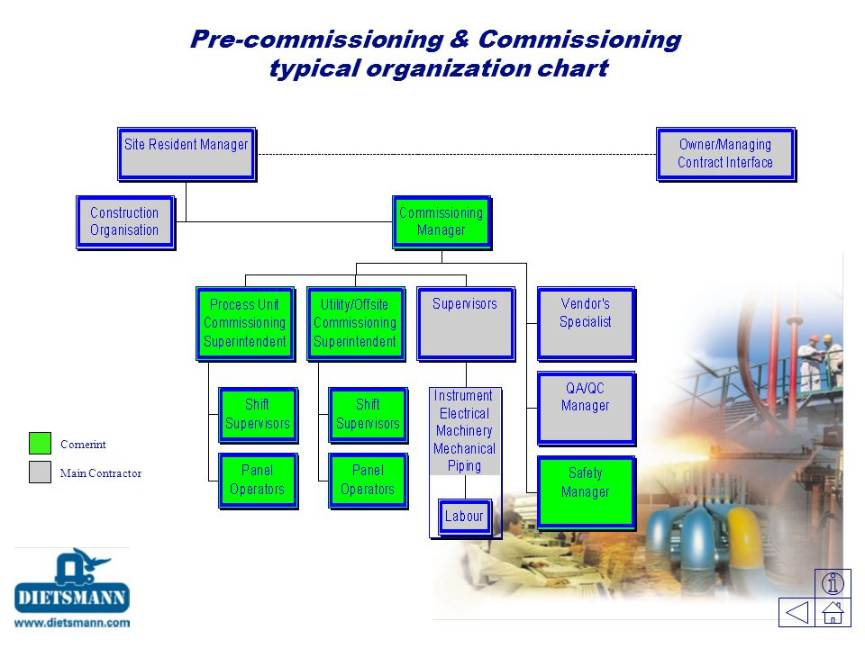 Pre-commissioning & Commissioning typical organization chart