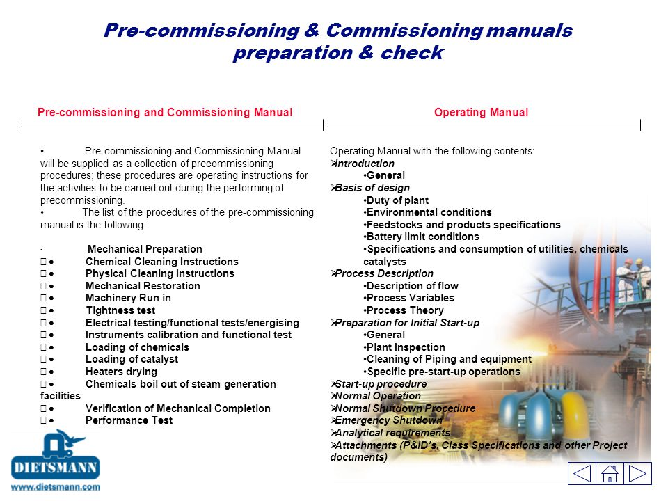 Pre-commissioning & Commissioning manuals