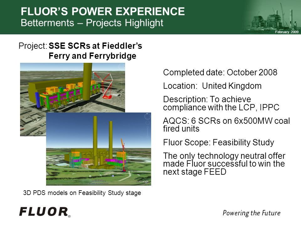 FLUOR'S POWER EXPERIENCE Betterments – Projects Highlight