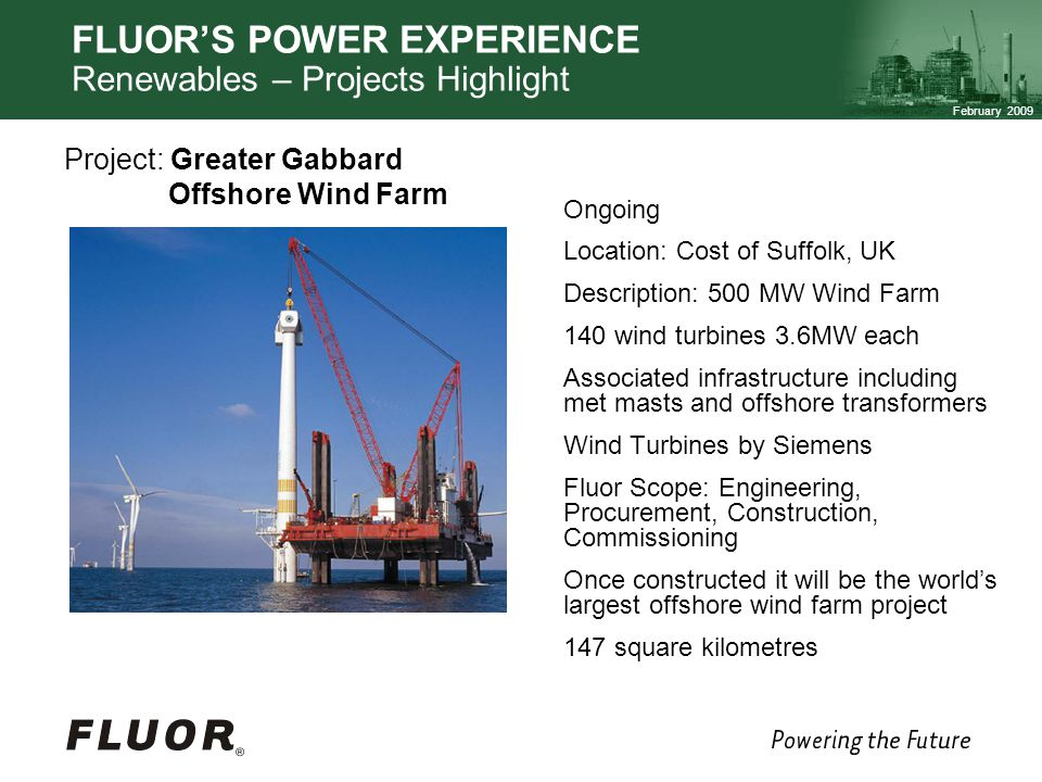 FLUOR'S POWER EXPERIENCE Renewables – Projects Highlight