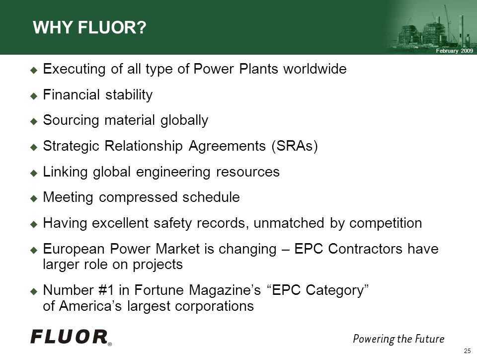 WHY FLUOR Executing of all type of Power Plants worldwide