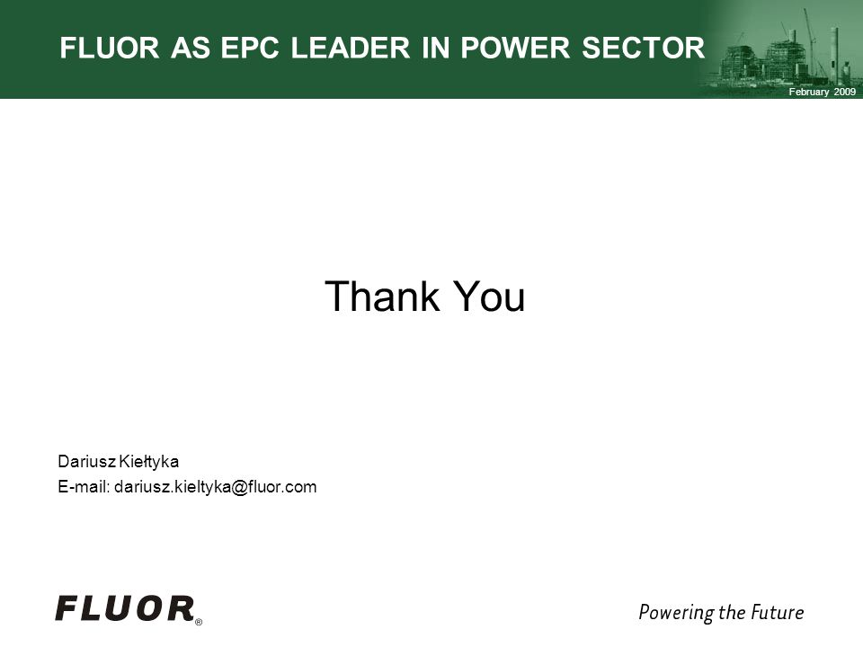 FLUOR AS EPC LEADER IN POWER SECTOR