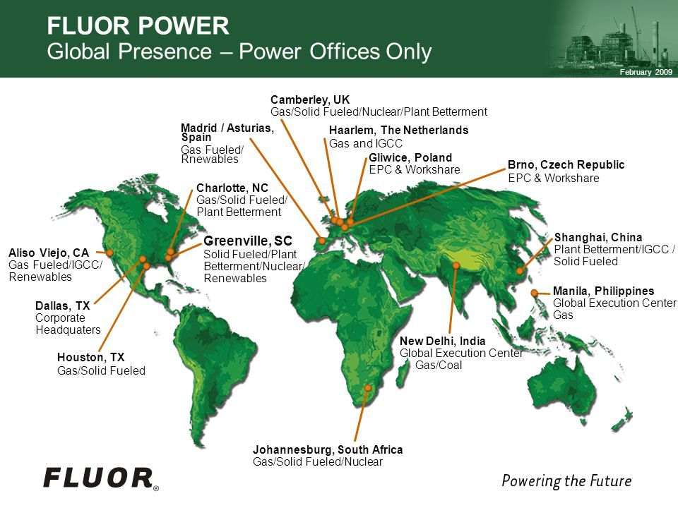 FLUOR POWER Global Presence – Power Offices Only