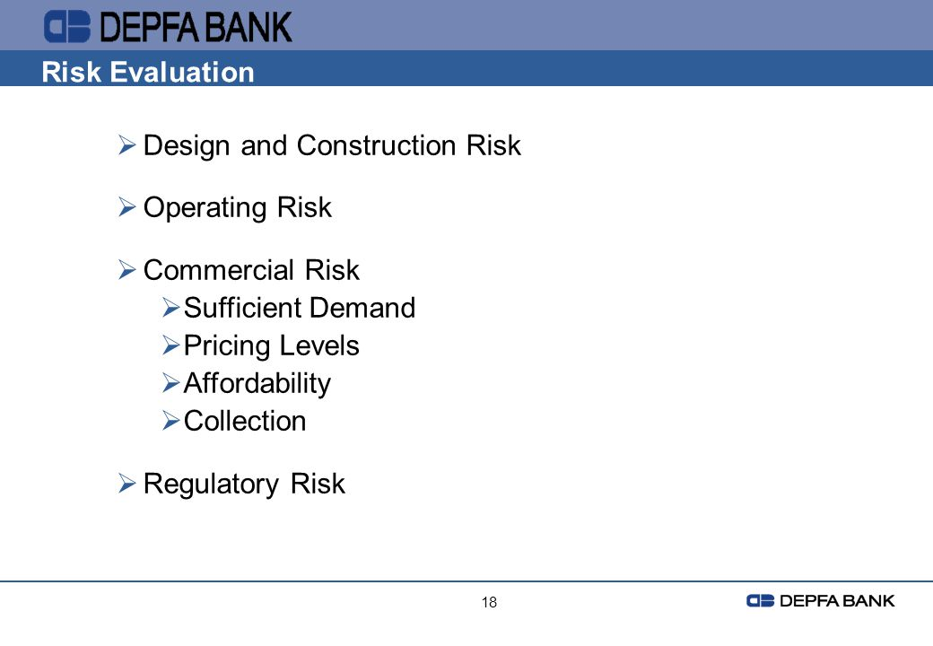 Design and Construction Risk Operating Risk Commercial Risk