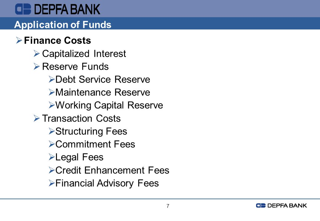 Working Capital Reserve Transaction Costs Structuring Fees