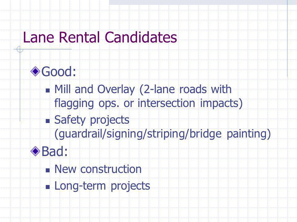 Lane Rental Candidates