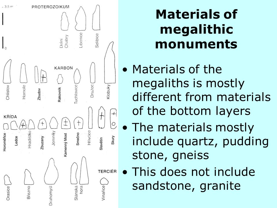 Materials of megalithic monuments