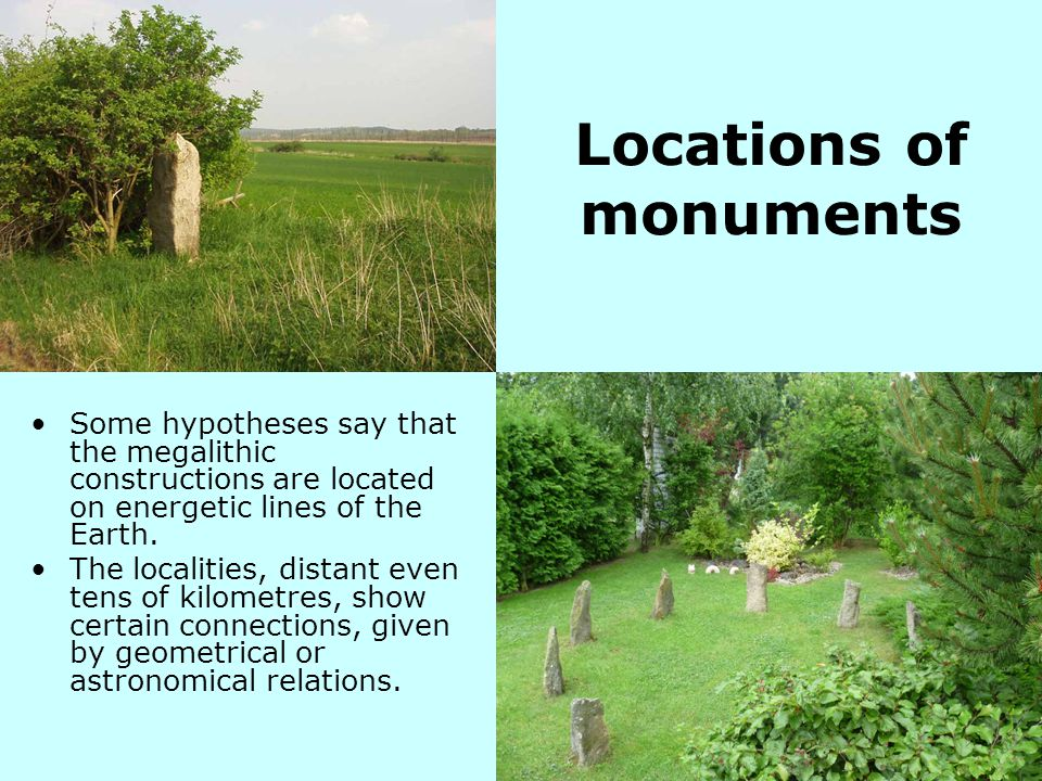 Locations of monuments