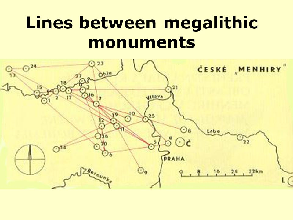 Lines between megalithic monuments