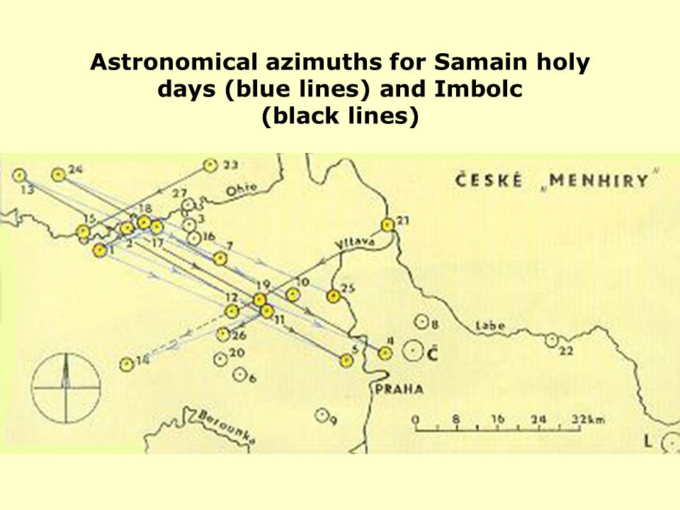 Astronomical azimuths for Samain holy days (blue lines) and Imbolc (black lines)