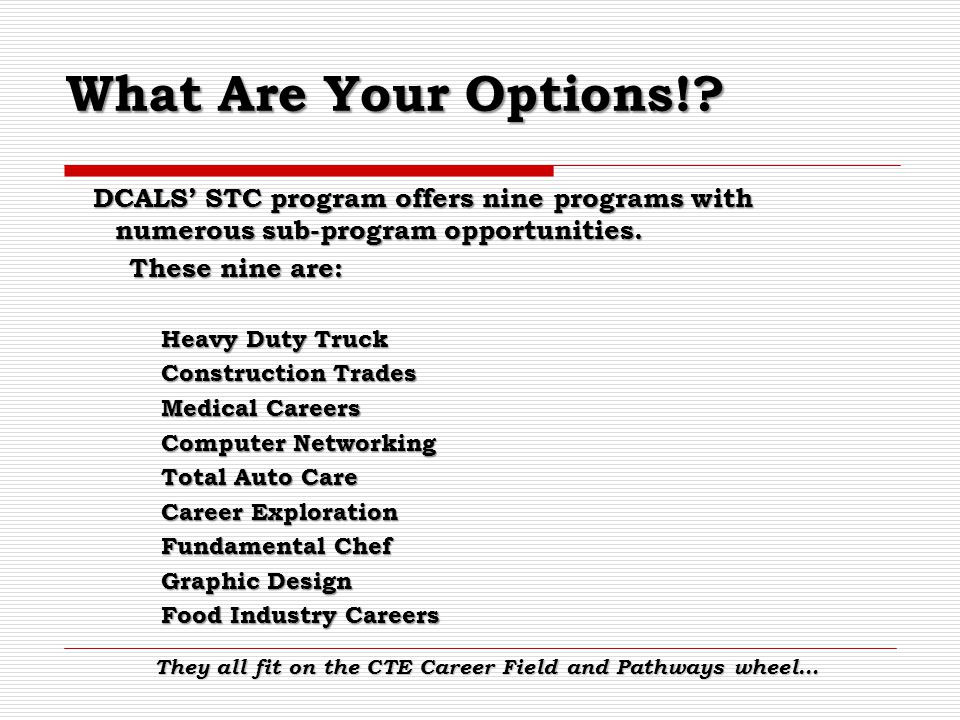 What Are Your Options! DCALS' STC program offers nine programs with numerous sub-program opportunities.