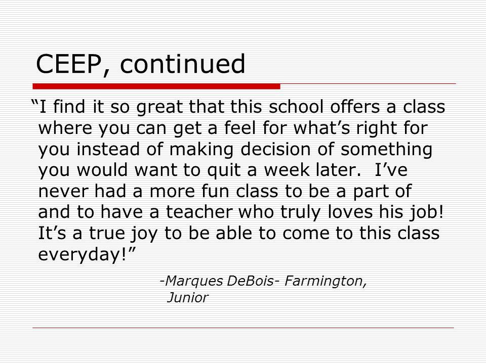 CEEP, continued