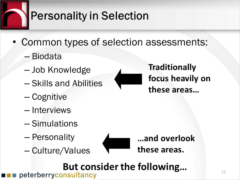 Personality in Selection