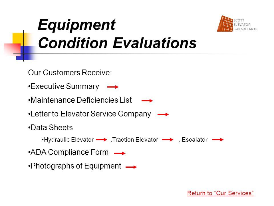 Equipment Condition Evaluations