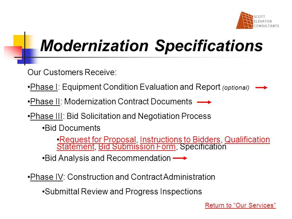Modernization Specifications