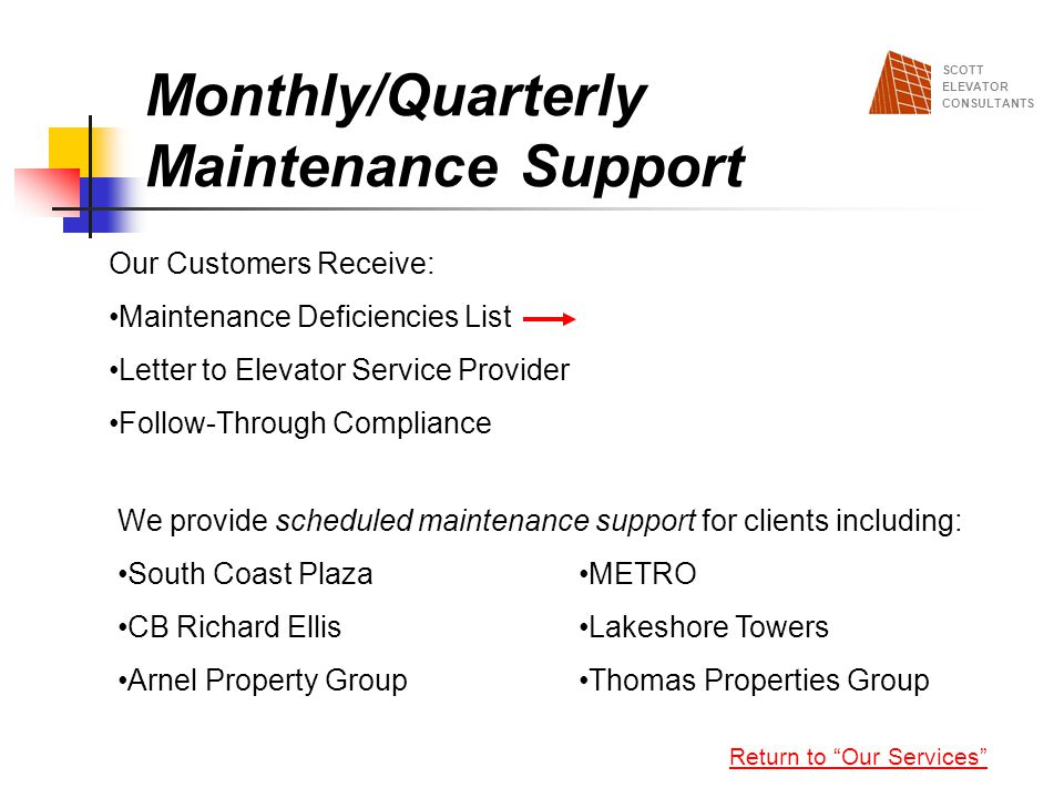 Monthly/Quarterly Maintenance Support
