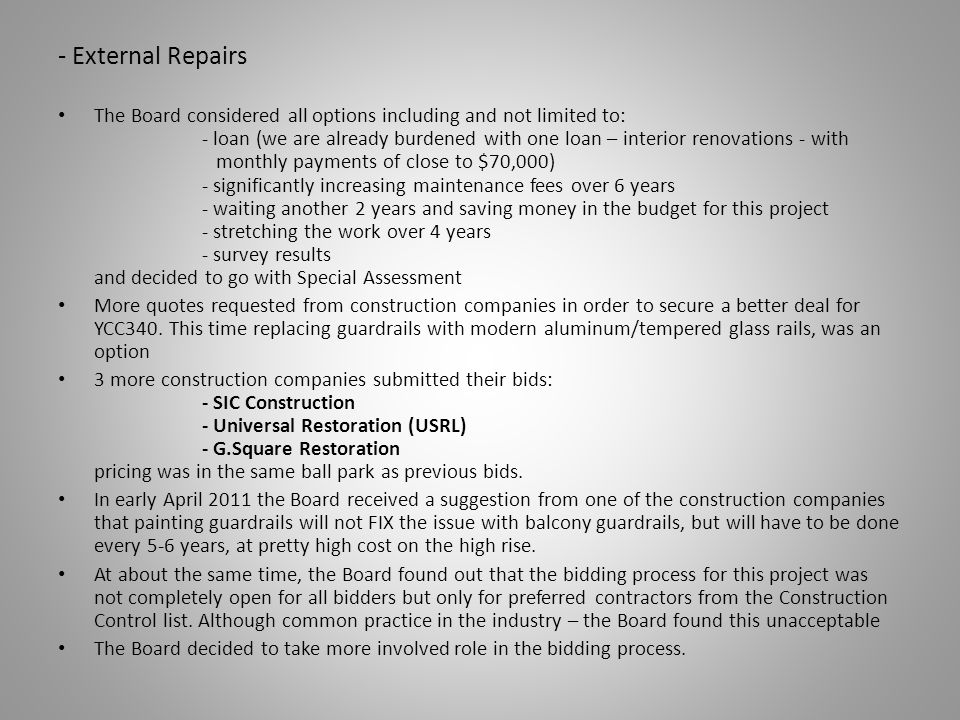 - External Repairs