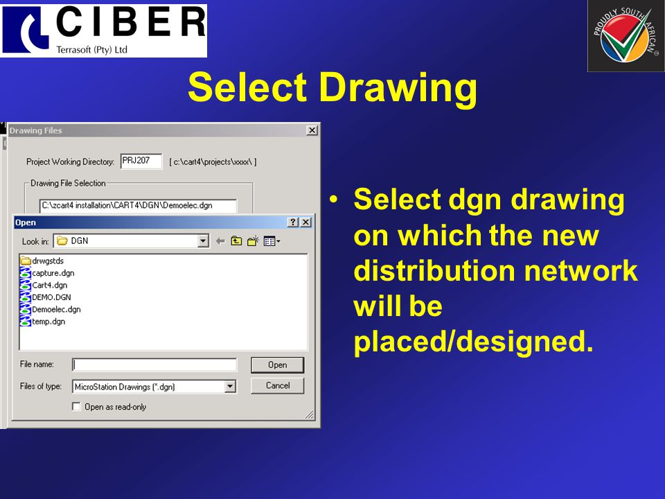 Select Drawing Select dgn drawing on which the new distribution network will be placed/designed.