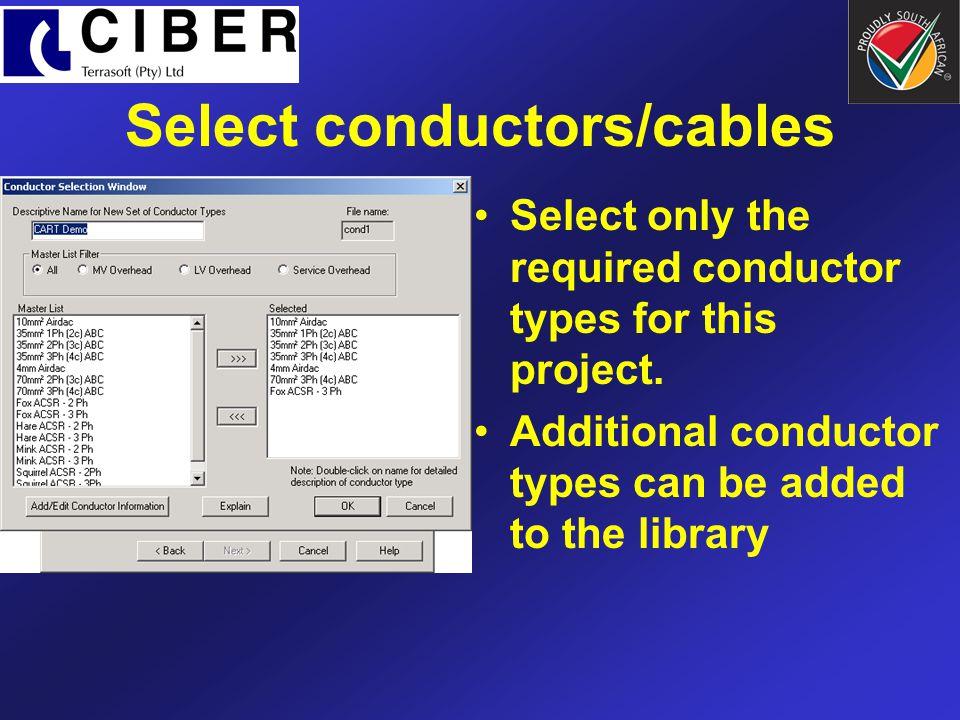 Select conductors/cables