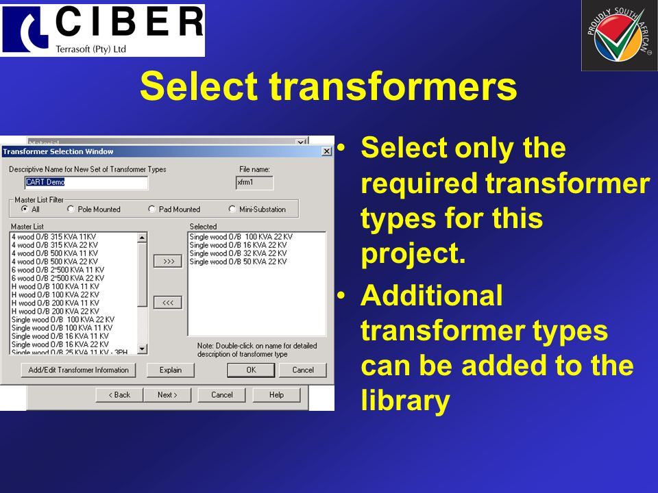 Select transformers Select only the required transformer types for this project.