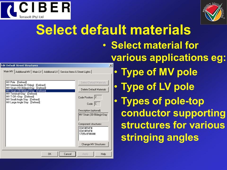 Select default materials