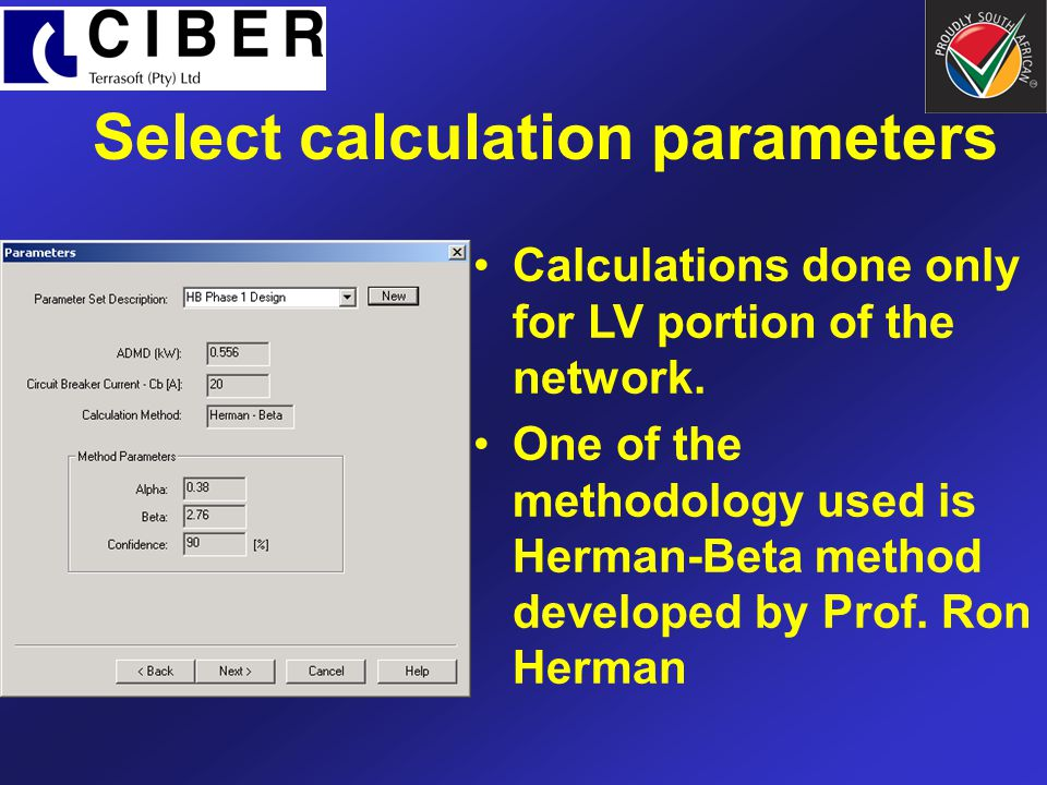 Select calculation parameters