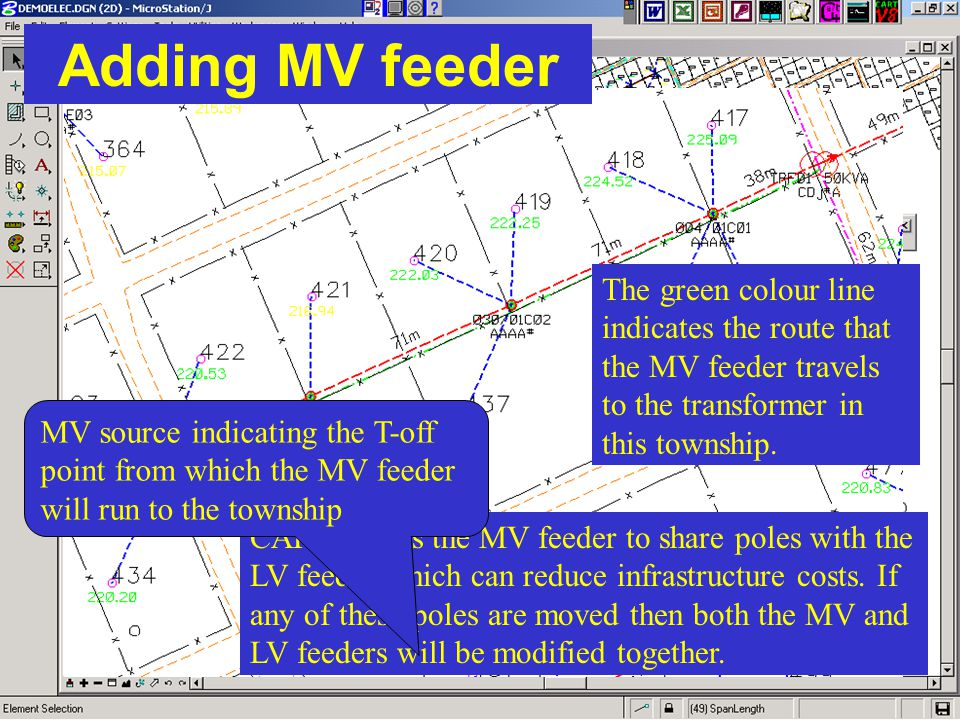 Adding MV feeder The green colour line indicates the route that the MV feeder travels to the transformer in this township.