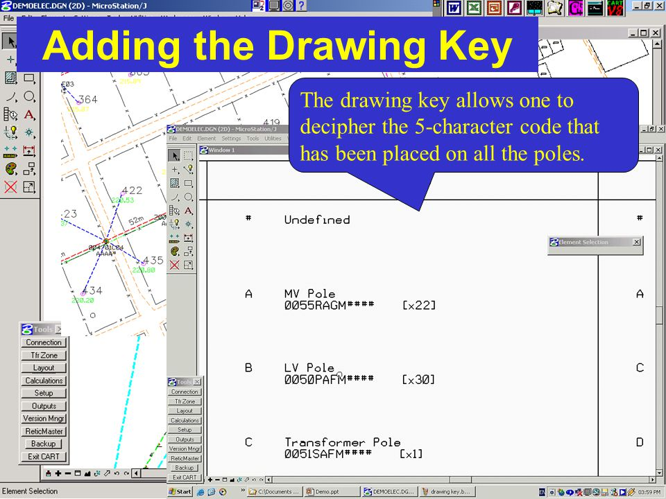 Adding the Drawing Key The drawing key allows one to decipher the 5-character code that has been placed on all the poles.