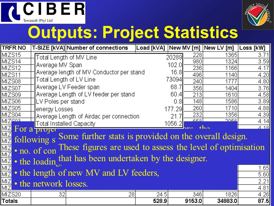 Outputs: Project Statistics