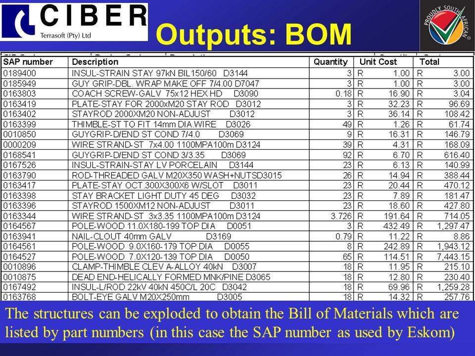 Outputs: BOM