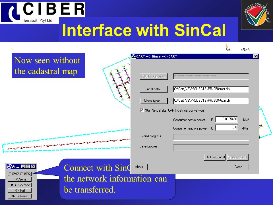 Interface with SinCal Now seen without the cadastral map