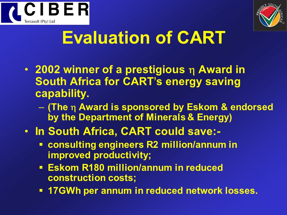 Evaluation of CART 2002 winner of a prestigious  Award in South Africa for CART's energy saving capability.