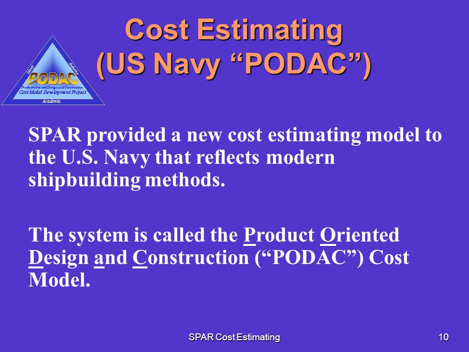 Cost Estimating (US Navy PODAC )