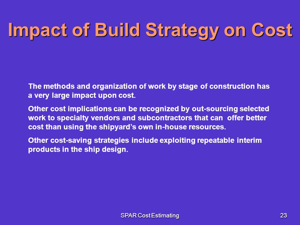 Impact of Build Strategy on Cost