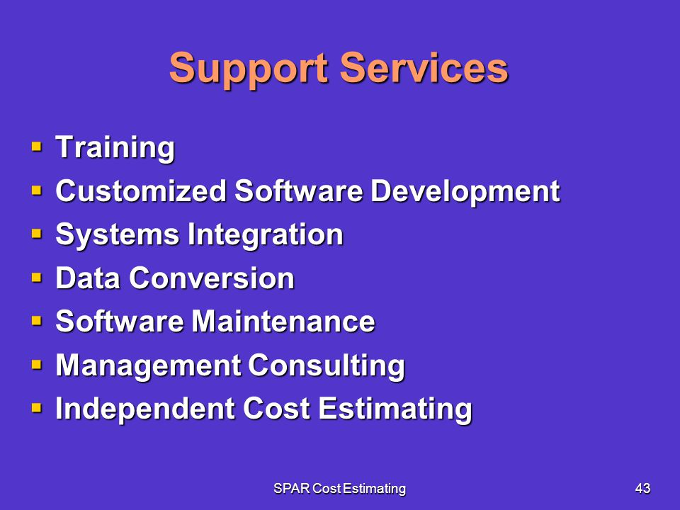 Support Services Training Customized Software Development