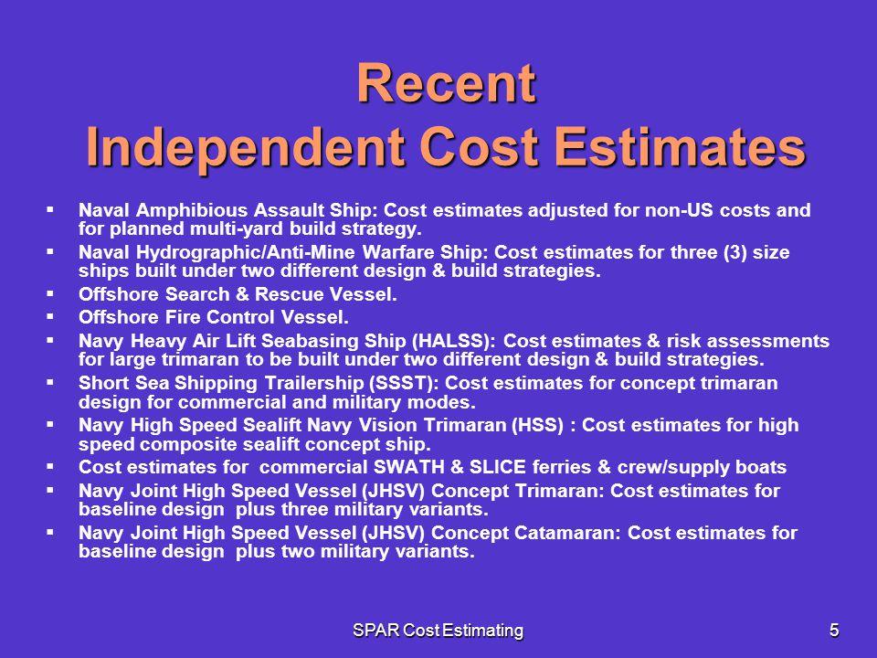 Recent Independent Cost Estimates