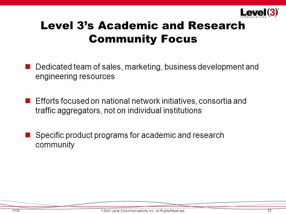 Level 3's Academic and Research Community Focus