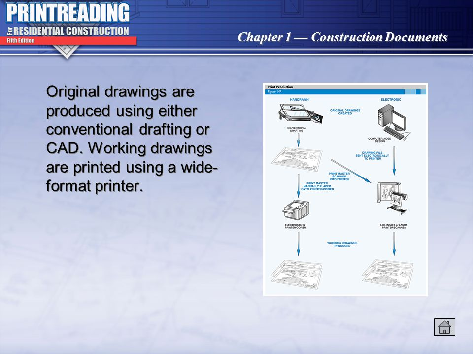 Original drawings are produced using either conventional drafting or CAD. Working drawings are printed using a wide-format printer.