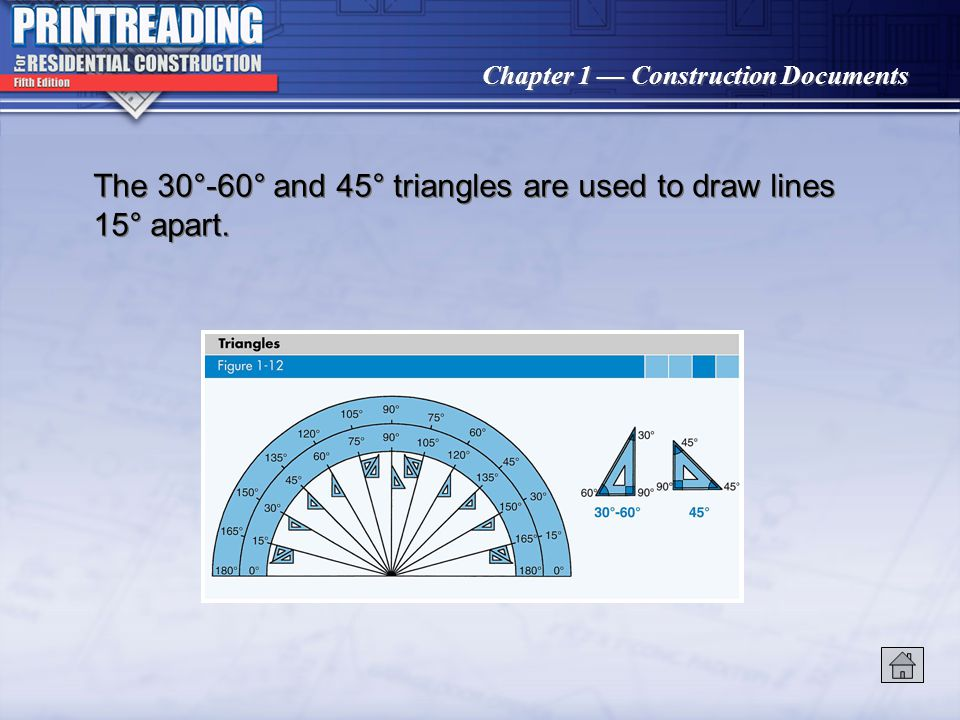 The 30°-60° and 45° triangles are used to draw lines 15° apart.