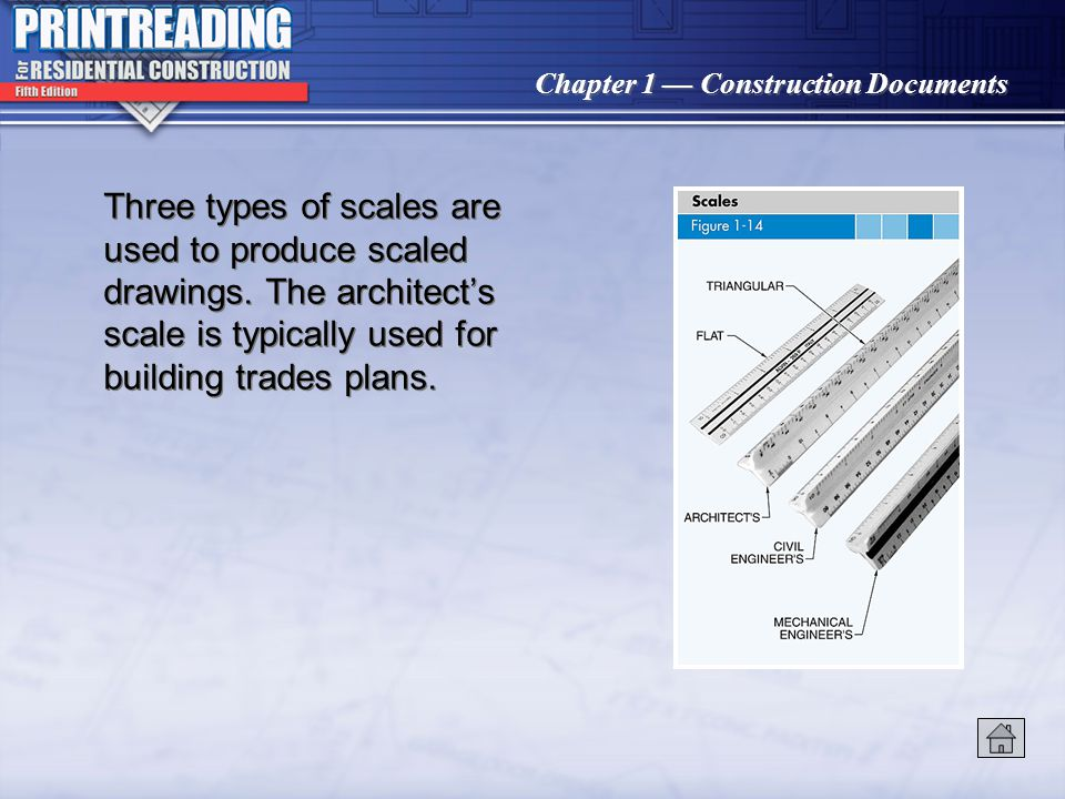 Three types of scales are used to produce scaled drawings