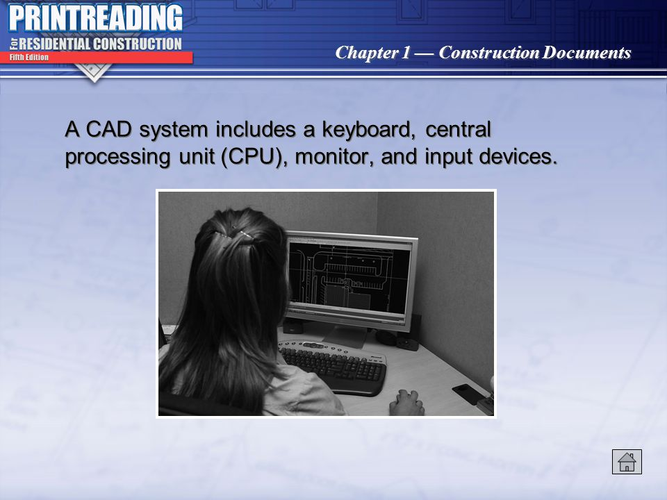 A CAD system includes a keyboard, central processing unit (CPU), monitor, and input devices.