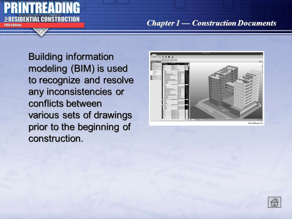 Building information modeling (BIM) is used to recognize and resolve any inconsistencies or conflicts between various sets of drawings prior to the beginning of construction.