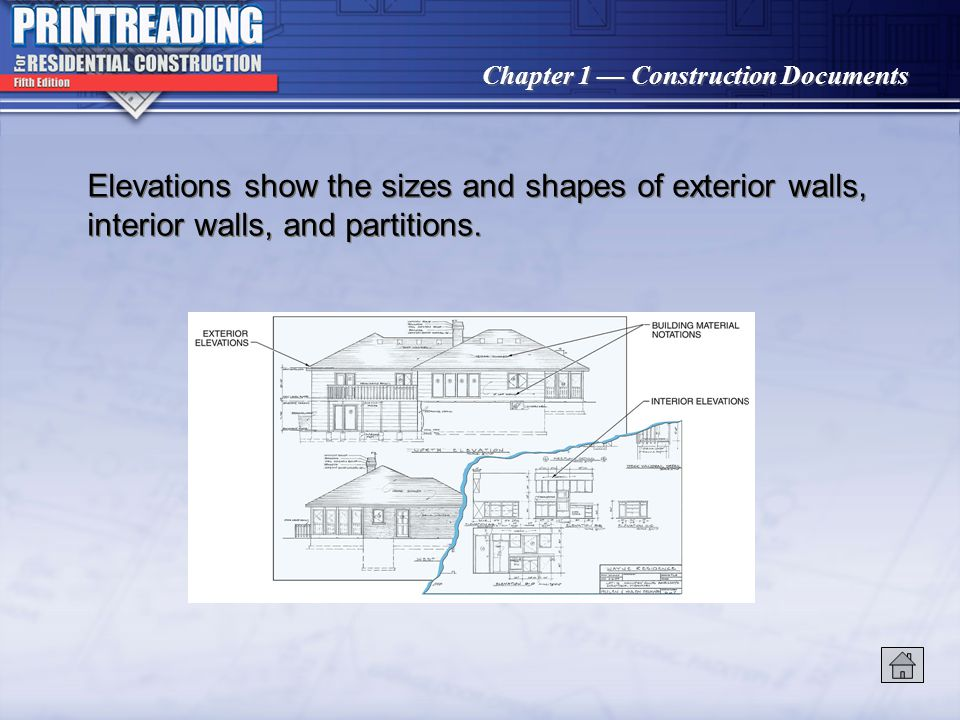 Elevations show the sizes and shapes of exterior walls, interior walls, and partitions.