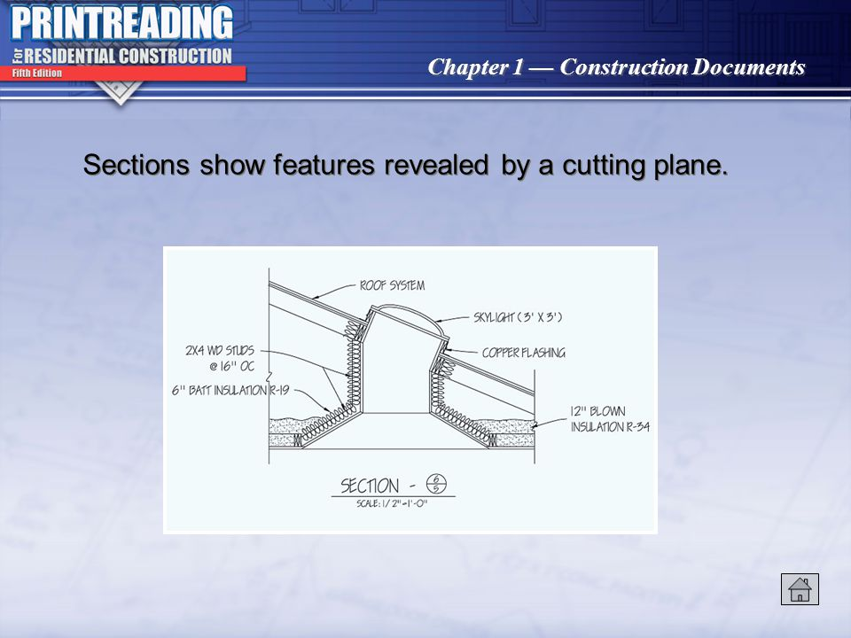 Sections show features revealed by a cutting plane.