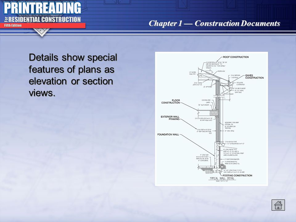 Details show special features of plans as elevation or section views.