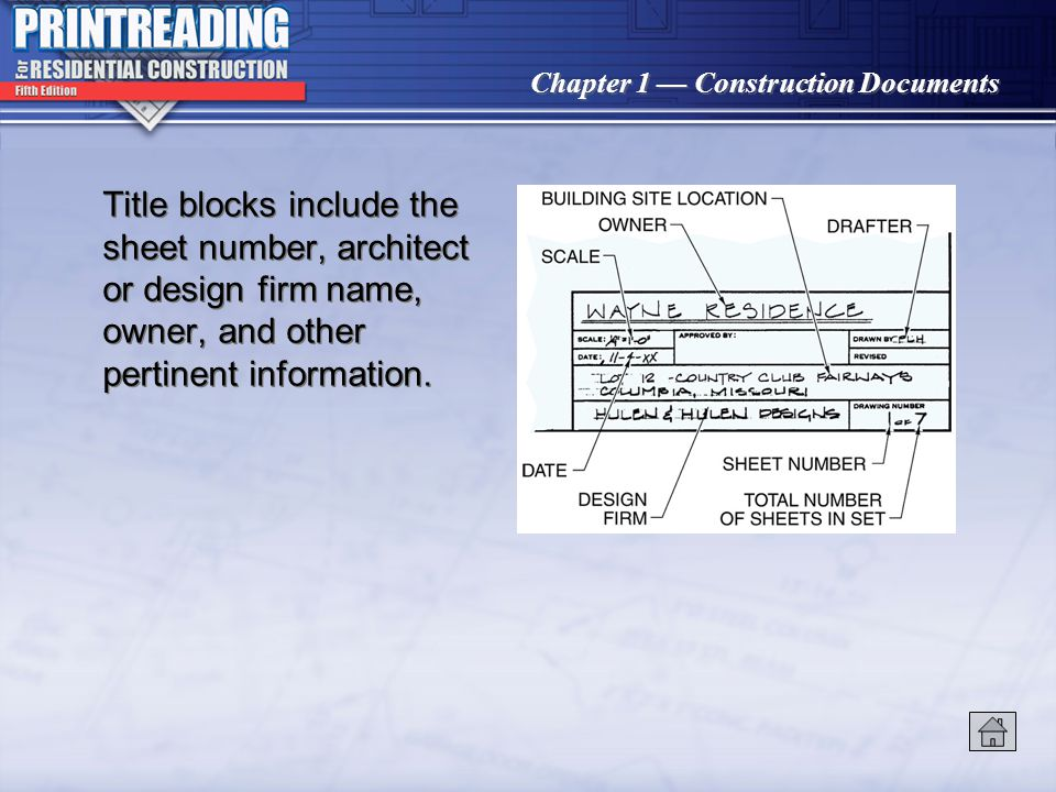 Title blocks include the sheet number, architect or design firm name, owner, and other pertinent information.