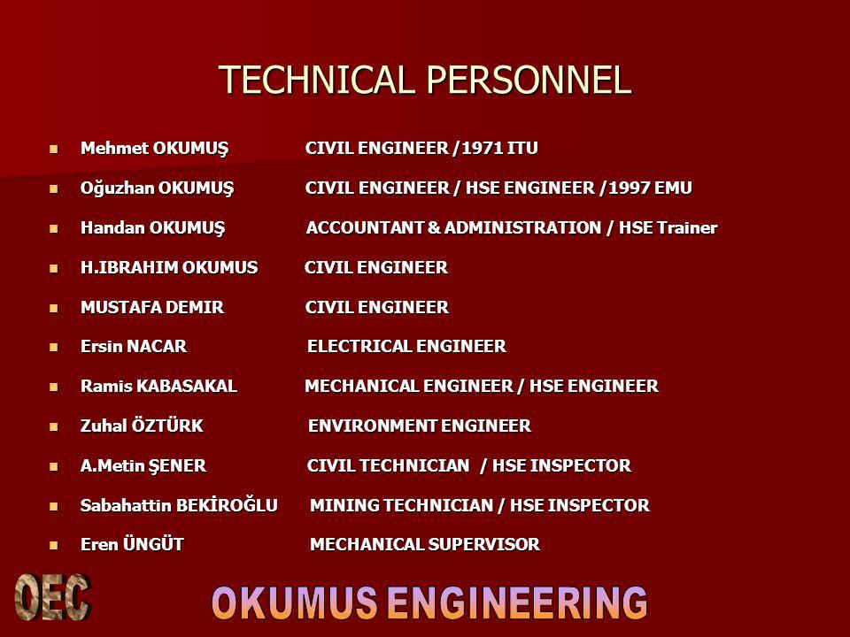 TECHNICAL PERSONNEL Mehmet OKUMUŞ CIVIL ENGINEER /1971 ITU