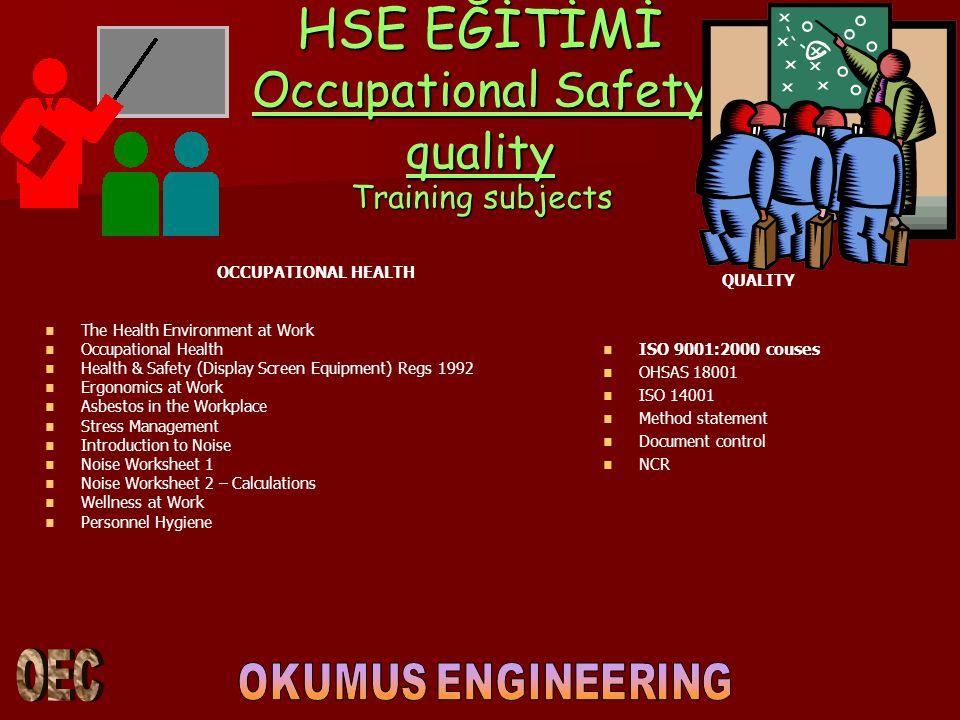 HSE EĞİTİMİ Occupational Safety quality