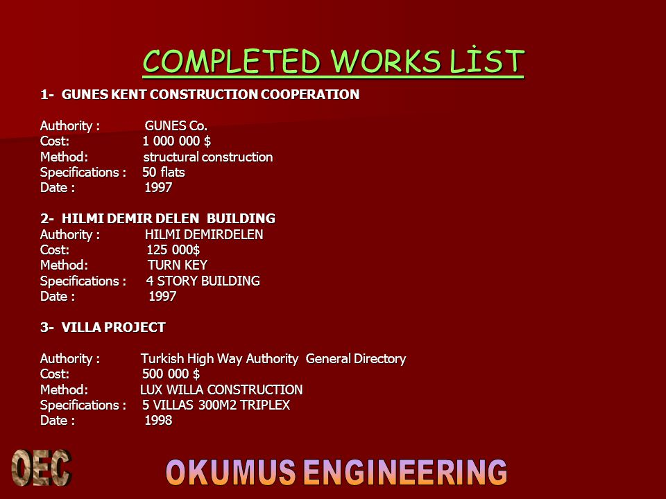 COMPLETED WORKS LİST 1- GUNES KENT CONSTRUCTION COOPERATION
